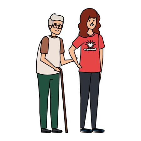 young woman volunteer helping a grandfather vector illustration design Illustration