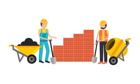 Bauarbeiter mit Schubkarren- und Mischerausrüstungsvektorillustration