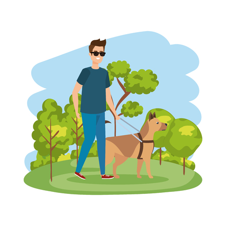 blinder Mann mit Blindenhund-Vektor-Illustrationsdesign Vektorgrafik