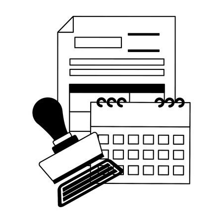tax payment document calendar invoice paid stamp vector illustration Illusztráció