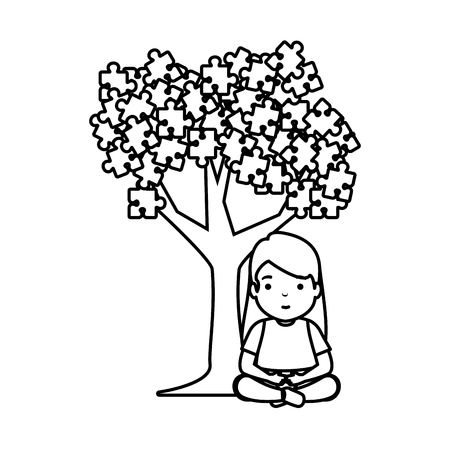 girl with tree puzzle attached vector illustration design Illustration