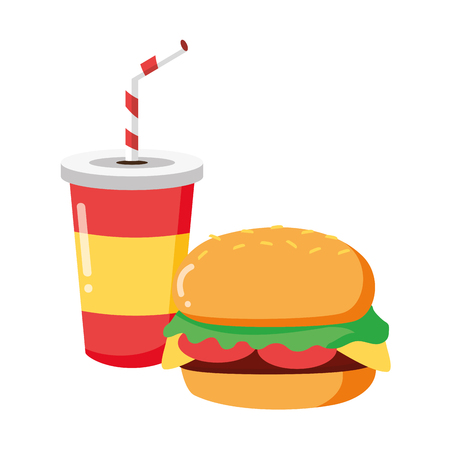 burger and soda on white background vector illustration