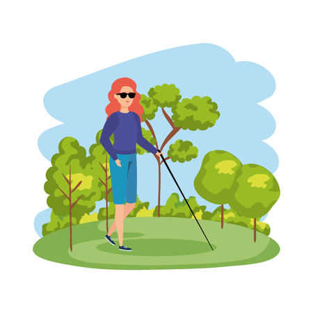 blind woman with walking stick vector illustration design