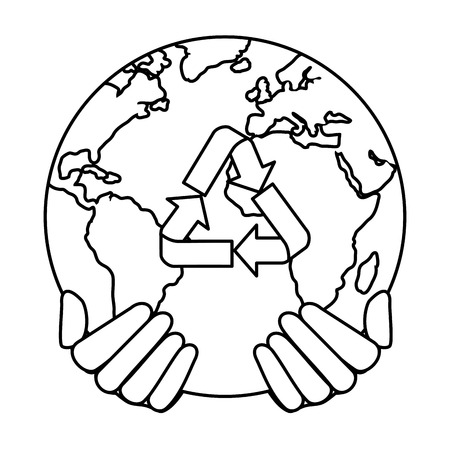 hands protecting earth planet with recycle arrows vector illustration design Ilustração