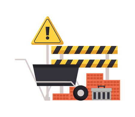 construction equipment wheelbarrow bricks barricade warning sign vector illustration Banco de Imagens - 123427935