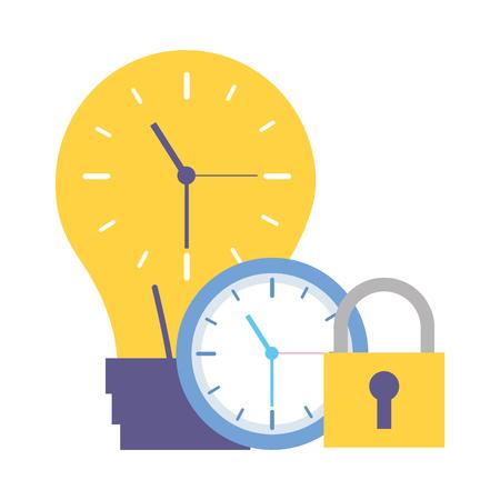 work time clock creativity bulb security vector illustration