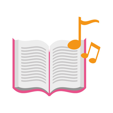 open book with musical notes icon vector illustration design  イラスト・ベクター素材