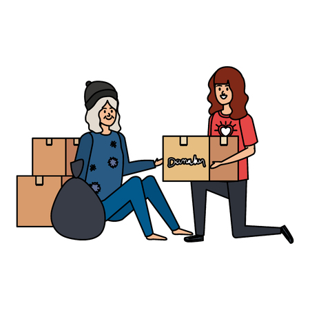 woman volunteer giving a homeless woman donations box vector illustration design Ilustracja