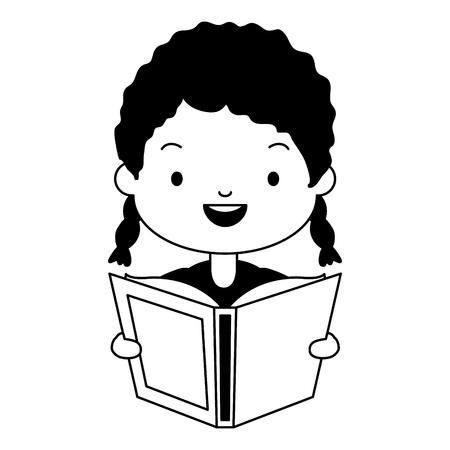 girl holding textbook - world book day vector illustration  イラスト・ベクター素材