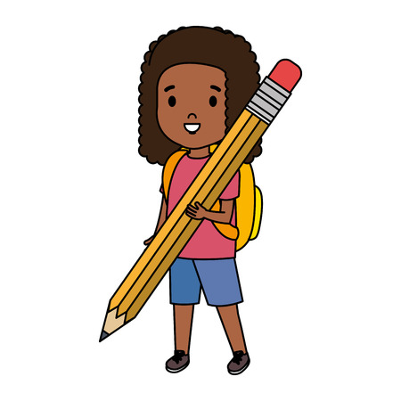 black little student girl with pencil vector illustration design