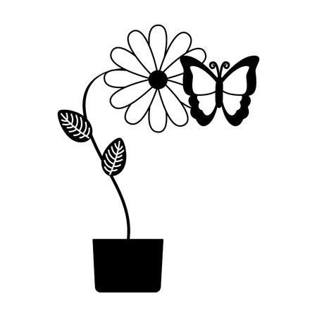 potted flower butterfly decoration vector illustration design