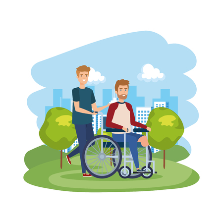 young man in wheelchair with male helper vector illustration design