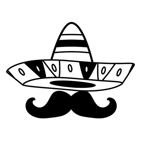 mexican hat with mustache design vector illustration