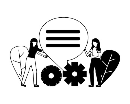 business women gears talk bubble vector illustration