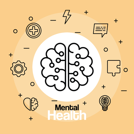 health brain with creative and intelligence mind vector illustration