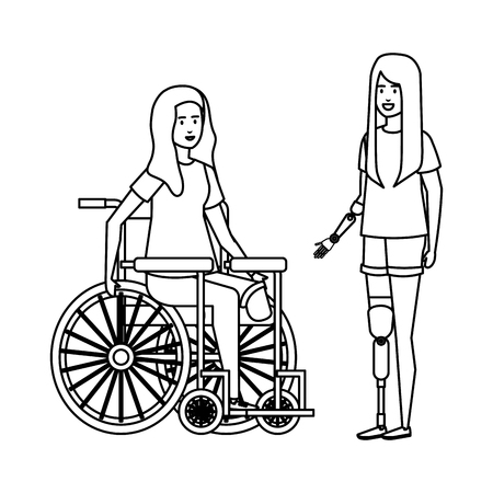 young woman in wheelchair with female helper vector illustration design Foto de archivo - 123428025