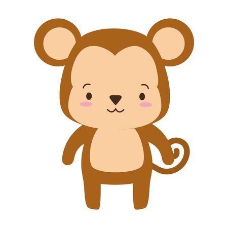 cute monkey animal cartoon vector illustration design Çizim