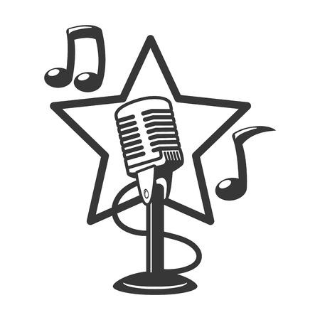microphone sound retro icon on white background vector illustration Illustration