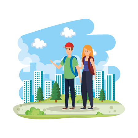 young couple with schoolbags in the landscape vector illustration design