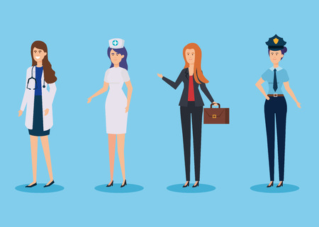 set traditional employers with professional uniform to work vector illustration