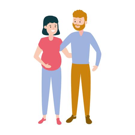 happy pregnant couple family vector illustration design Illustration