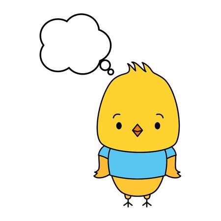 cute chicken cartoon speech bubble vector illustration design Ilustração