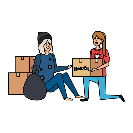 woman volunteer giving a homeless woman donations box vector illustration design Illustration