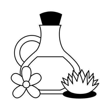 Botella de aceite flores lotus spa terapia ilustración vectorial