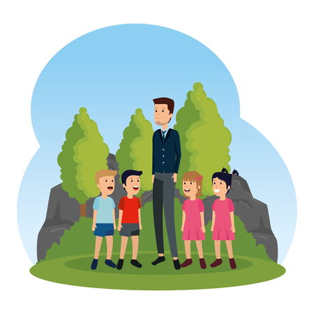 young teacher male with little students in the field vector illustration design