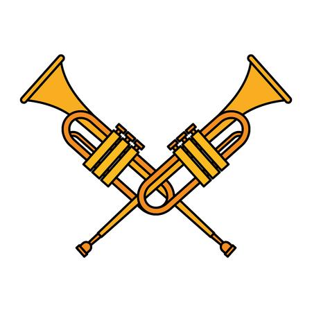 Diseño de ilustración de vector de icono de música de instrumento de trompeta