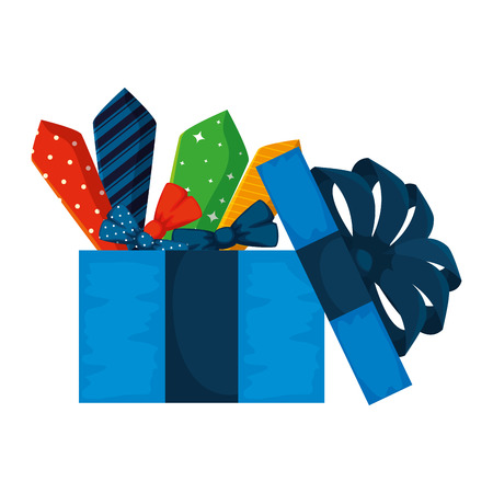giftbox with set of elegant ties vector illustration design