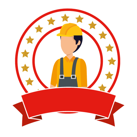 builder worker with helmet vector illustration design Illustration