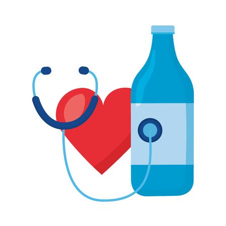 heart stethoscope bottle world health day vector illustration Stock Illustratie