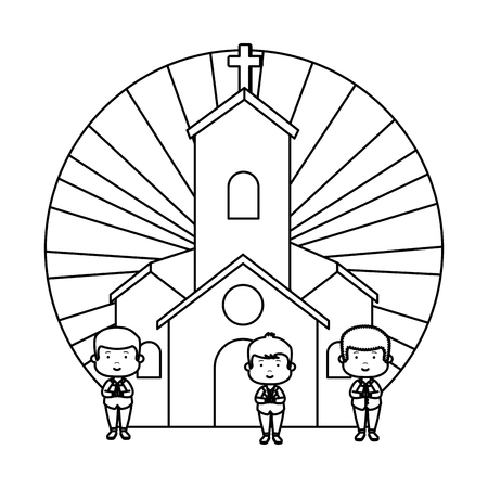 little boys in church first communion characters vector illustration design Banque d'images - 121009892