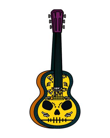 chitarra messicana acustica con disegno di illustrazione vettoriale di vernice teschio Vettoriali