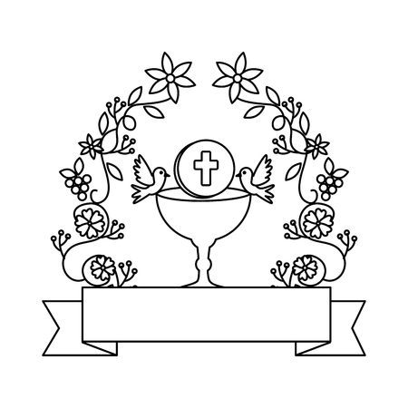first communion in chalice with floral crown vector illustration design