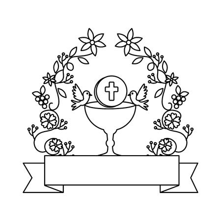Première communion en calice avec conception d'illustration vectorielle couronne florale