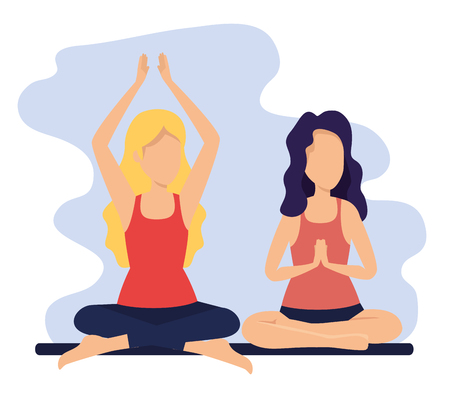 women practice yoga exercise posture vector illustration
