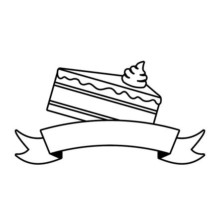 süße Kuchenscheibe auf weißer Hintergrundvektorillustration