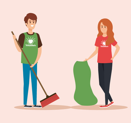 boy and girl volunteers with broom and bag vector illustration