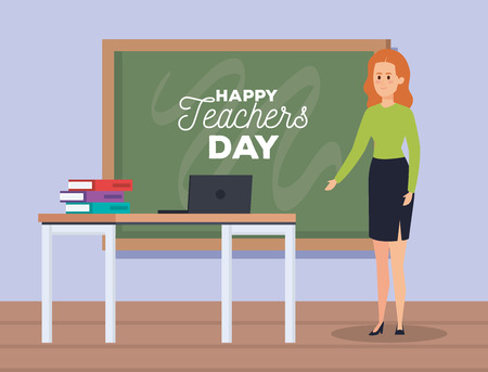 woman teacher and laptop with books and blackboard vector illustration