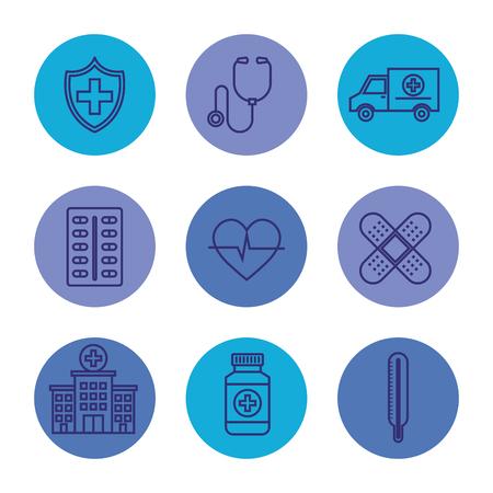 set medical equipment service and professional service vector illustration Ilustração