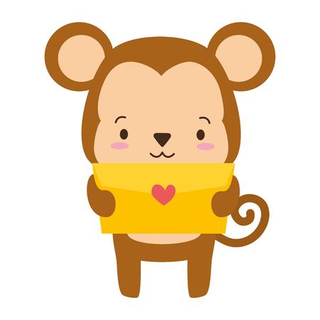 cute monkey cartoon mail love vector illustration Illusztráció