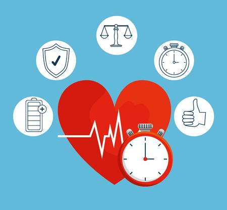 heartbeat with chronometer to health lifestyle balance vector illustration Reklamní fotografie - 123429490