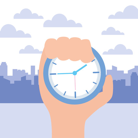 hand with clock time work vector illustration