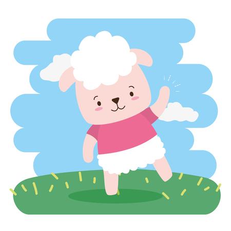 cute sheep animal cartoon vector illustration design Illustration