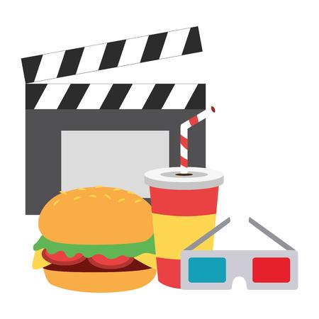 cinema burger soda 3d glasses fast food vector illustration design Illustration