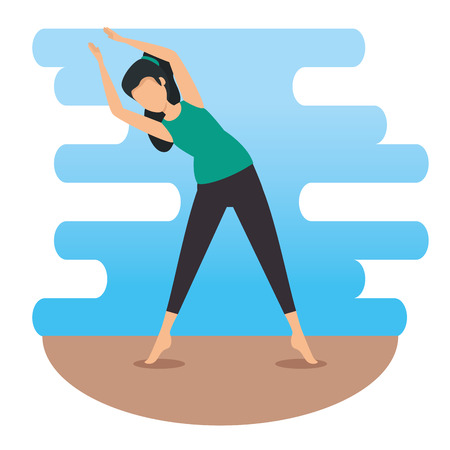 woman doing exercise and relax pose vector illustration