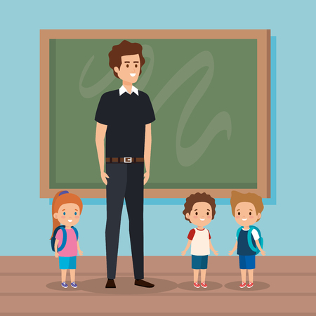 professional man teacher in the class with kids vector illustration