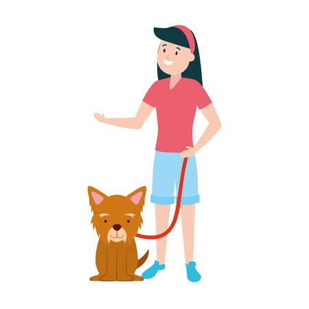 girl with his dog domestic vector illustration Фото со стока - 123429549
